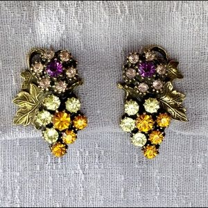 Vintage Colorful Rhinestone Earrings
